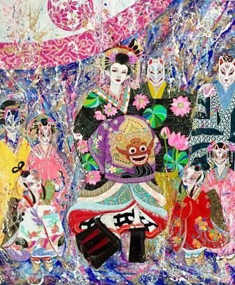 『 逢魔が時 〜花魁道中〜/in the twilight zone 』acrylic on canvas (72.7cm×60.6cm/F20)