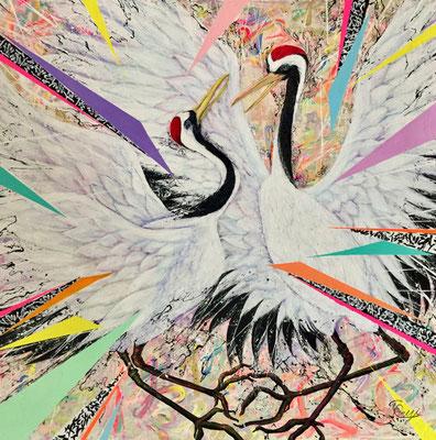 『 美意延年〜 Les jours chouettes〜 』acrylic on canvas (60.6cm×60.6cm/S12)