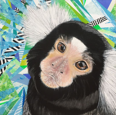 『No title ~commonmarmoset~』acrylic on canvas (41.0cm×41.0cm/S6)