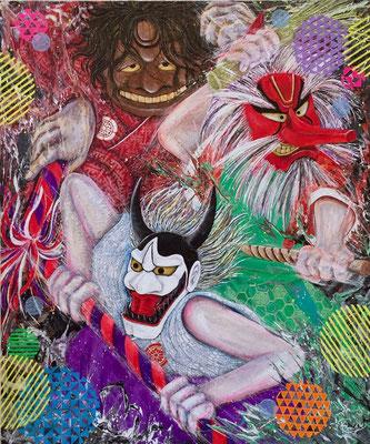 『 祭り囃子 〜bizarre festival〜』 acrylic on canvas (72.7cm×60.6cm/F20)18回 絵のまち尾道四季展 入選作品