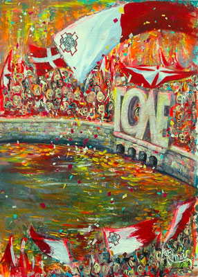 『 After election at Spinola 』acrylic on paper (42.8cm×33.0cm/F4 including flame)
