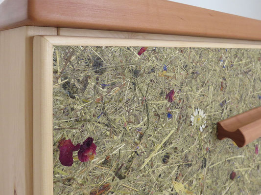 Schubkastenfront mit Almkräutern und bunten Blütenblättern