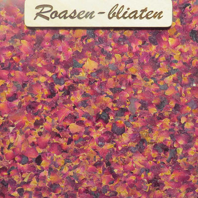 """Kräuter-Beschichtung """"Roasen-bliaten"""", natürliche Oberfläche mit Blütenblättern von Rosenblüten"""