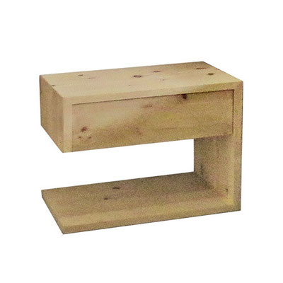 moderner Nachttisch aus Zirbe mit einer Schublade