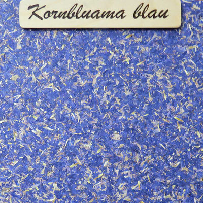 """Kräuter-Beschichtung """"Kornbluama blau"""", natürliche Oberfläche mit Blütenblättern von Kornblumen"""