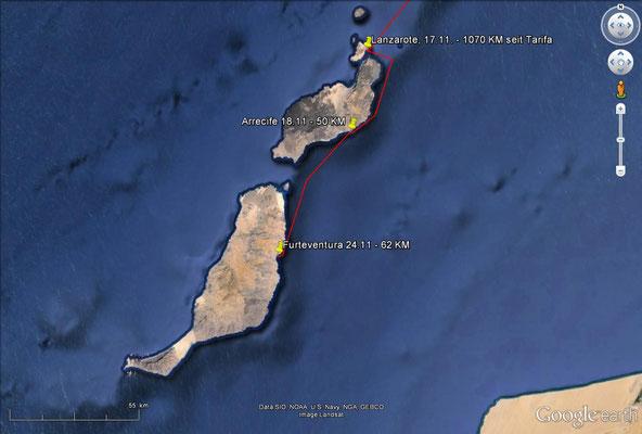 Fahrroute und Station Lanzarote / Fuertoventura