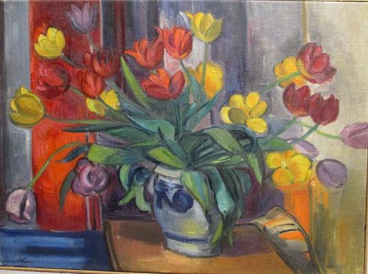 Boeket tulpen_1, (Den Haag, 1957) olieverf, 52x71 cm
