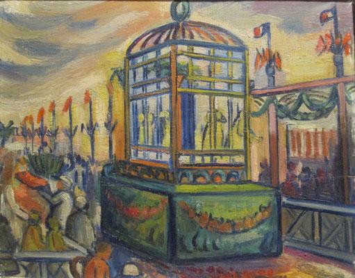 Bataille de fleur (Nice, 1936), olieverf, 24x30