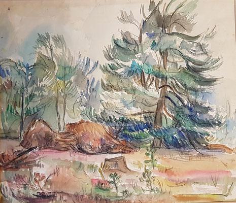 De Heide_4 (Laren, 1943), aquarel en Oost-Indische inkt, 38x44 cm