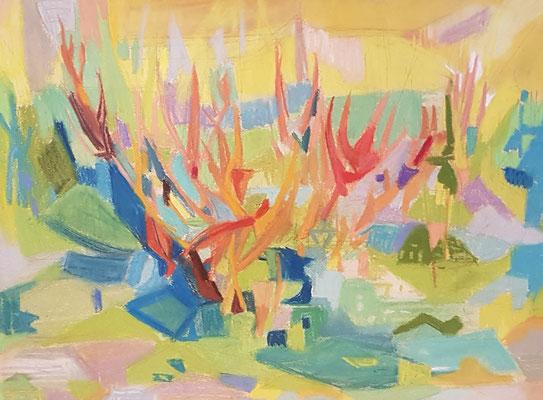 Ons veldje (Den Haag, 1957), pastel, 36x26cm
