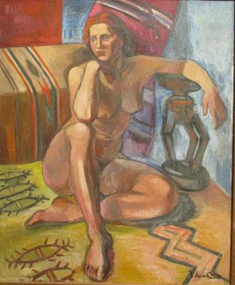 Naakt voor divan (Parijs, ca. 1934), olieverf, 65x54 cm