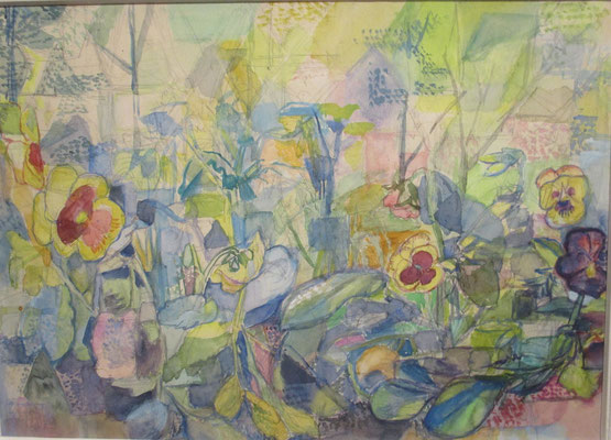 Viooltjes (Den Haag, ca. 1970), pastel, 29x40 cm