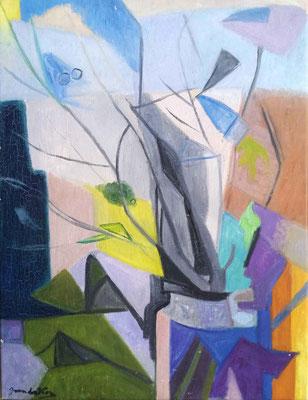 Abstract stilleven, olieverf, 65x50 cm; in 2020 verkocht aan particulier door Akke, Haarlem