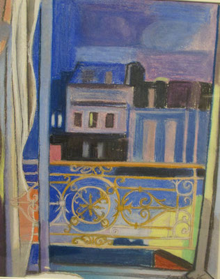 Window at night (Paris, ca. 1934), pastel, 43x35 cm