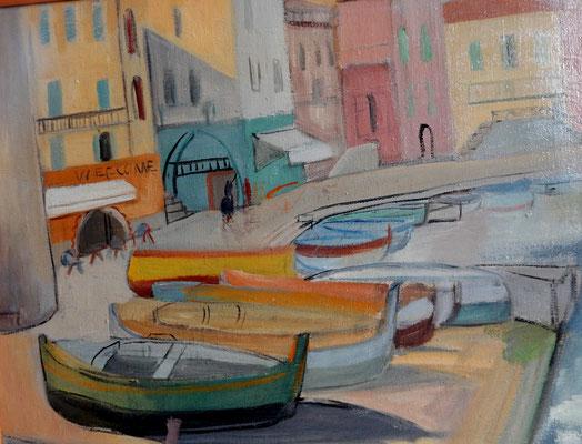 Port de Villefranche-sur-Mer (vers 1933-1934), peinture à l'huile, 45x54 cm