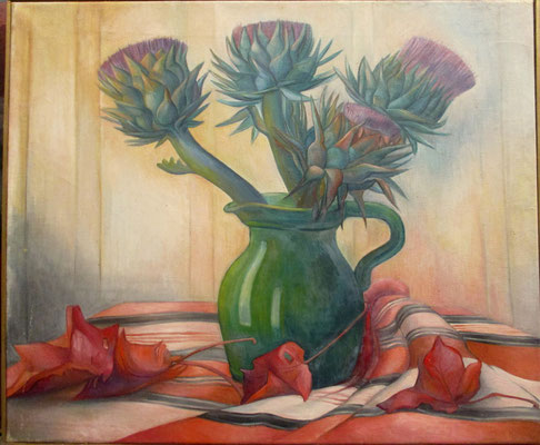 Bouquet artichokes (about 1935), oil paint, 60x50 cm