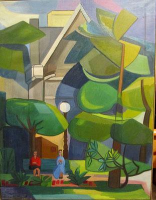 In het park (Den Haag, 1963), olieverf, 90x71 cm