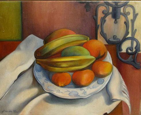 Nature morte aux bananes, peinture à l'huile, 39x50 cm