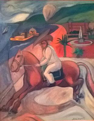 Carnaval (en arrière-plan la vieille jetée de Nice, vers 1933-1934), peinture à l'huile
