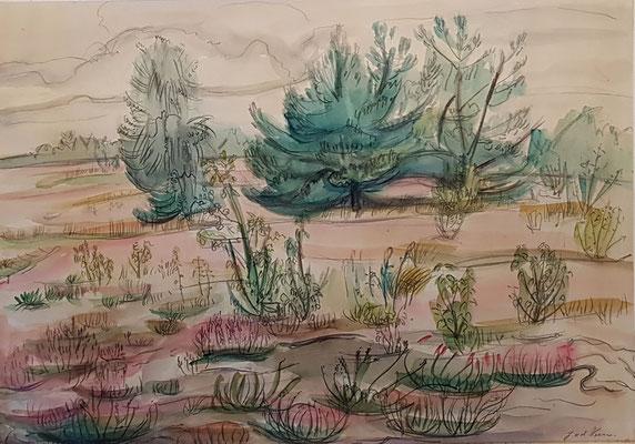 De Heide_3 (Laren, 1943), aquarel en Oost-Indische inkt, 25x35 cm