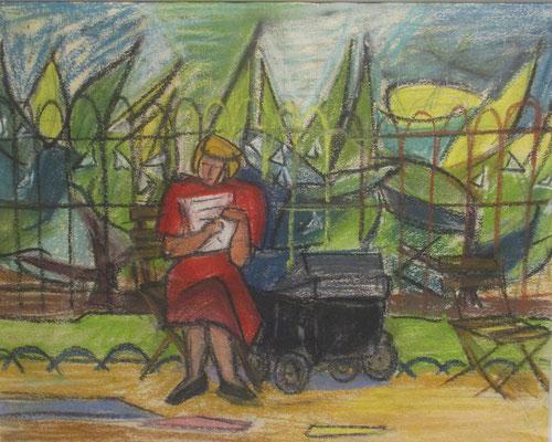Dans le parc (Paris, 1949), pastel, 29x34 cm
