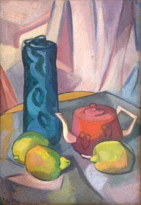 Kubistisch stilleven (Parijs, ca. 1950), olieverf, 55x38 cm