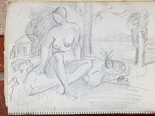 Study for Nude with sheep and fruit plate (Paris, ca. 1933-1934), 24x32 cm