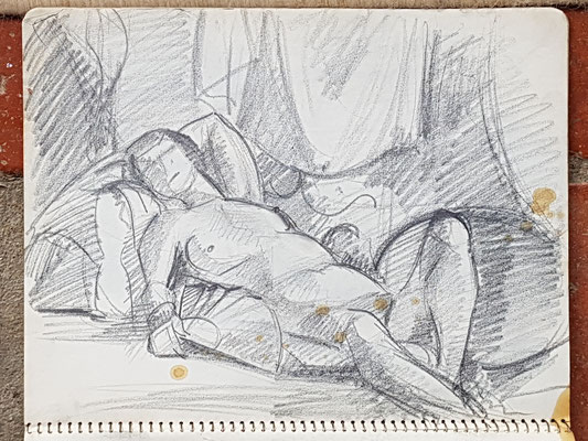 Study for Nude with fan (Paris, ca. 1933-1934), 24x32 cm