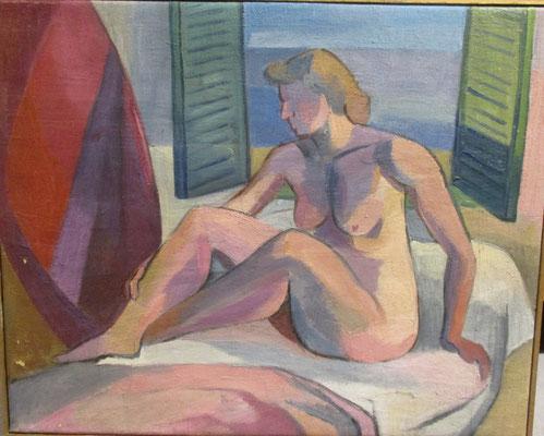 Naakt aan het venster (Parijs, 1935), olieverf, 44x55 cm