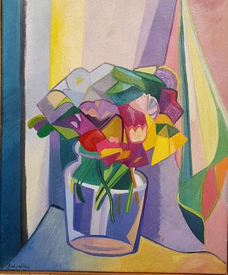 Bouquet de fleurs (La Haye, 1946), peinture à l'huile, 54x45 cm