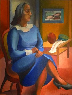 Dame in korenblauwe jurk (Parijs, ca. 1935), olieverf, 64x48,5 cm