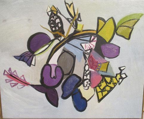 Plantes, peinture à l'huile, 45x54 cm