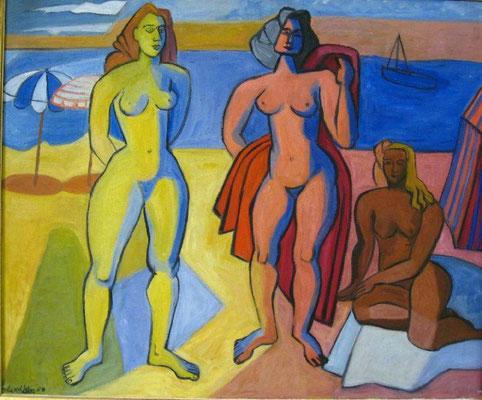 Les trois baigneurs, peinture à l'huile, 60x71 cm