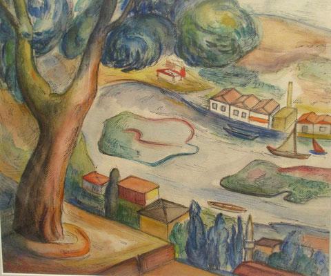 Buiten Istanbul 1 (1937), aquarel en Oost-Indische inkt, 38x45 cm