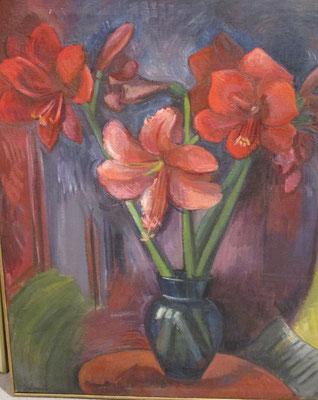 Boeket amaryllissen (Den Haag, 1956)  olieverf, 64x53 cm