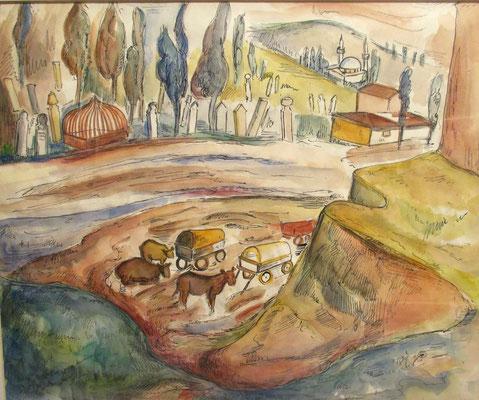 Buiten Istanbul 2 (1937), aquarel en Oost-Indische inkt, 38x45 cm