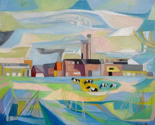 Het Neher-lab (Leidschendam, 1968), olieverf, 72x89 cm