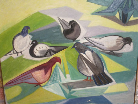 Duifjes voeren (Den Haag, ca. 1960), olieverf, 53x64 cm