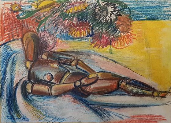 Poupet au repos, (Den Haag, 1941) pastel, 26x36cm