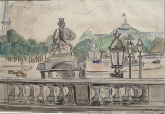Place de la Concorde (Parijs, 1949), aquarel en Oost-Indische inkt, 23x32 cm