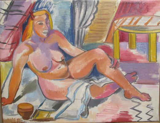Naakt op strand (Parijs, 1936), olieverf, 49x64 cm