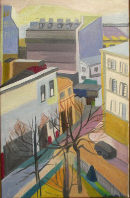 Window view flat Weldamstraat 1 (The Hague, ca. 1965), oil paint, 60x37 cm