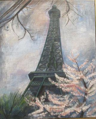 Eiffeltoren (Parijs, ca. 1950), olieverf, 54x44 cm