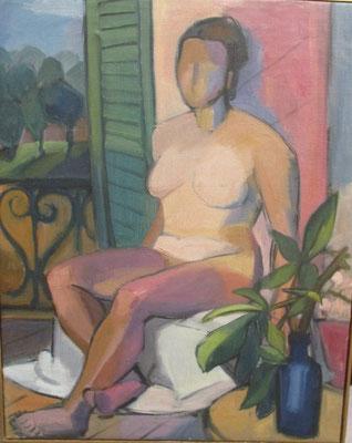 Naakt bij balkon (Parijs, 1935), olieverf, 60x48 cm