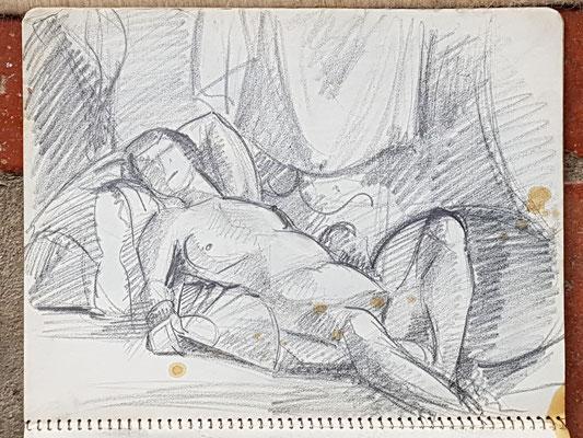 Voorstudie voor Naakt met waaier (Parijs, ca. 1933-1934), 24x32 cm