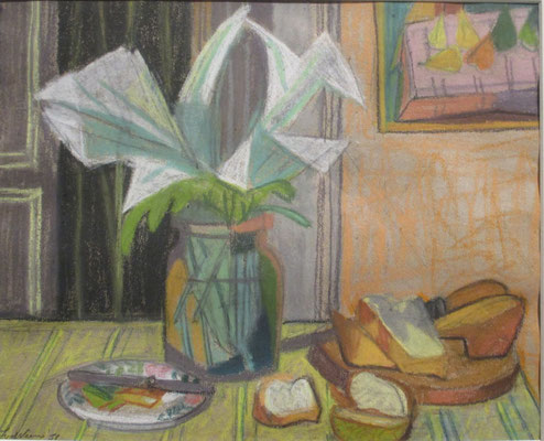 Nature aux fleurs (Parijs, 1951), pastel, 26x33 cm