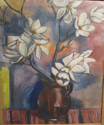 Boeket magnolia's (Den Haag, 1956) olieverf, 72x60 cm