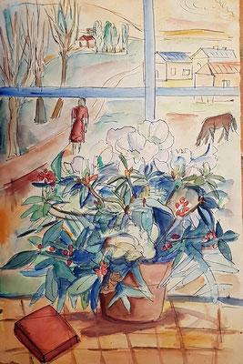 Promenade (? 1950), aquarel en Oost-Indische inkt, 50x33 cm