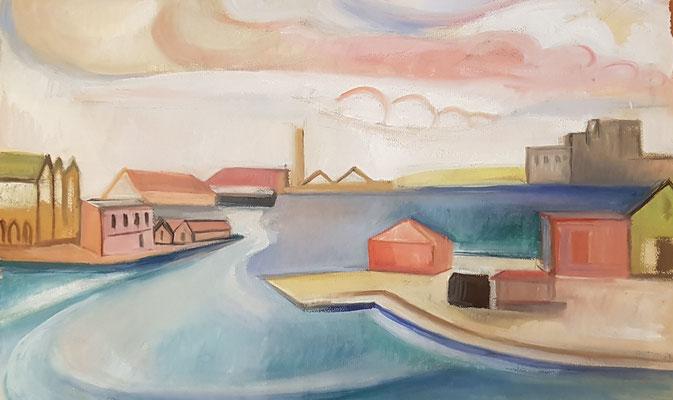 De Haven (Scheveningen, 1946), aquarel, 36x46 cm