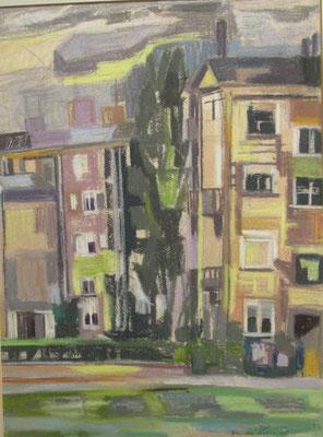 Heeswijkplein (Den Haag, 1961), pastel, 50x38 cm